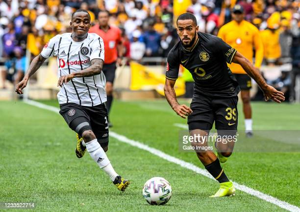 Reeve Frosler of Kaizer Chiefs and Thembinkosi Lorch of Orlando Pirates during the Absa Premiership match between Orlando Pirates and Kaizer Chiefs...