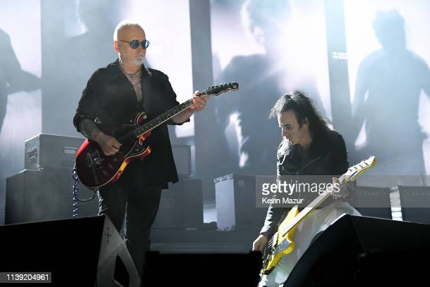 Reeves Gabrels and Simon Gallup of The Cure perform at the 2019 Rock Roll Hall Of Fame Induction Ceremony Show at Barclays Center on March 29 2019 in...