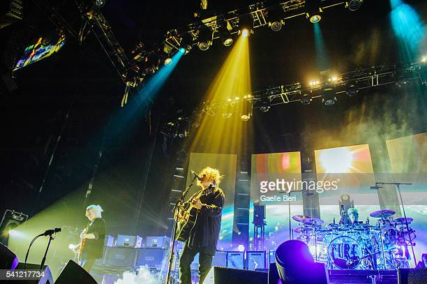 Reeves Gabrels Robert Smith and Jason Cooper of The Cure perform live at Centre Bell on June 14 2016 in Montreal Canada
