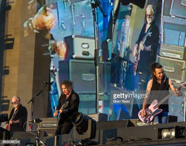 Reeves Gabrels Robert Smith and Simon Gallup of The Cure perform live at Barclaycard present British Summer Time Hyde Park at Hyde Park on July 7...