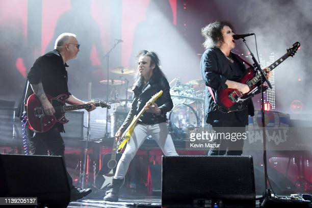 Reeves Gabrels Simon Gallup andRobert Smith of The Cure perform at the 2019 Rock Roll Hall Of Fame Induction Ceremony Show at Barclays Center on...