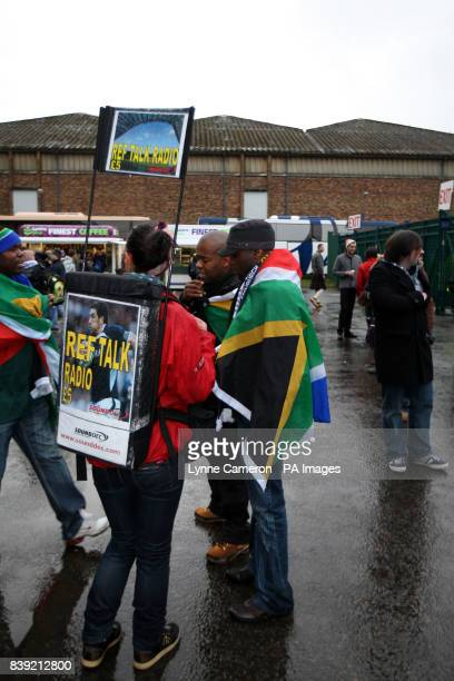 Ref talk radio sellers outside Murrayfield before the match