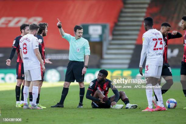Ref Tony Harrington awards a free-kick to Jefferson Lerma of Bournemouth during the Sky Bet Championship match between AFC Bournemouth and Watford at...