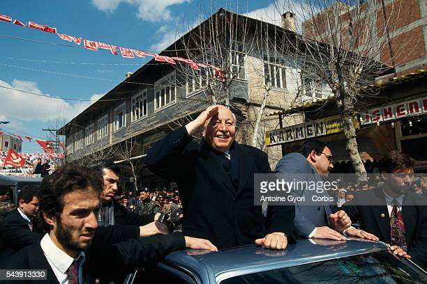 Refah leader Necmettin Erbakan attends a rally in Adiyaman | Location Adiyaman Turkey