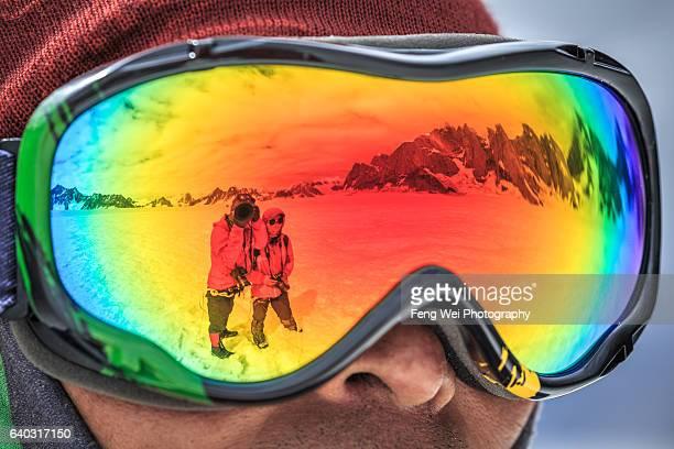 Refection Of Snow Lake & Karakoram Mountains In Ski Google, Biafo Hispar Snow Lake Trek, Central Karakoram National Park, Gilgit-Baltistan, Pakistan