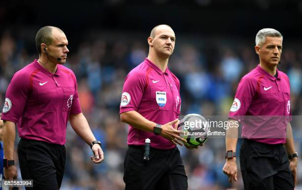 Refeere Bobby Madley and his two assistants walk out prior to the Premier League match between Manchester City and Leicester City at Etihad Stadium...