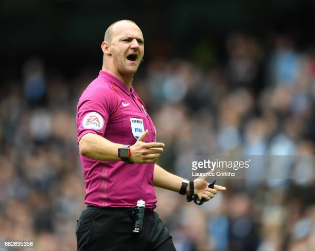 Refeere Bobby Madley looks on during the Premier League match between Manchester City and Leicester City at Etihad Stadium on May 13 2017 in...