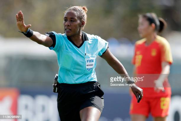 Referee Abebe Lidya Tafesse during the Algarve Cup Women match between China PR v Norway at the Estadio Municipal de Albufeira on March 1, 2019 in...