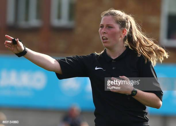 Referee Abi Marriott during Women's Super League 1 match between Arsenal Women against Birmingham City Ladies at Borehamwood Football Club London on...