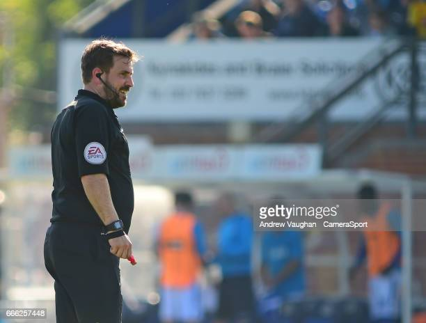 Referee Adam Bromley during the Vanarama National League match between Eastleigh and Lincoln City at Silverlake Stadium on April 8, 2017 in...