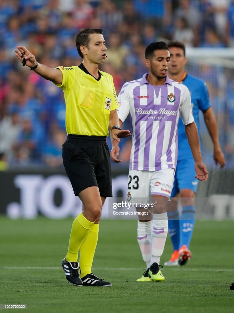 referee Adrian Cordero during the La Liga Santander match between Getafe v Real Valladolid at the Coliseum Alfonso Perez on August 31, 2018 in Getafte Spain