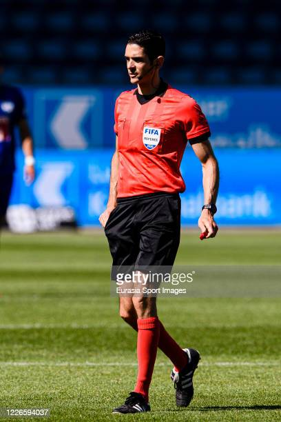 Referee Adrien Jaccottet during the Swiss Swiss Raiffeisen Super League match between FC Luzern and FC Lugano at the Swissporarena on July 12 2020 in...