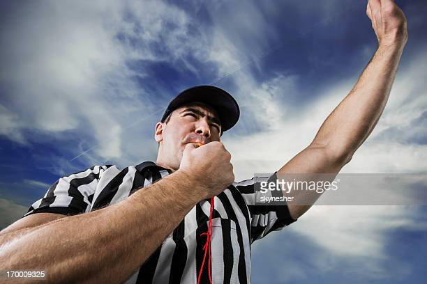 referee against the clouds. - american football referee stock pictures, royalty-free photos & images