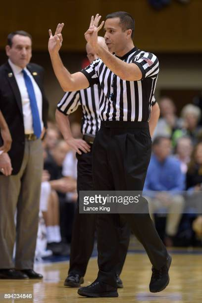 Referee AJ Desai make a call during the game between the South Dakota Coyotes and the Duke Blue Devils at Cameron Indoor Stadium on December 2 2017...