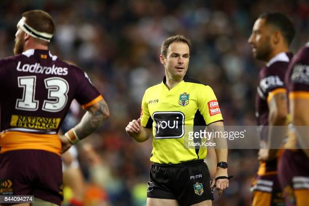 Referee Alan Shortall watches on during the NRL Qualifying Final match between the Sydney Roosters and the Brisbane Broncos at Allianz Stadium on...
