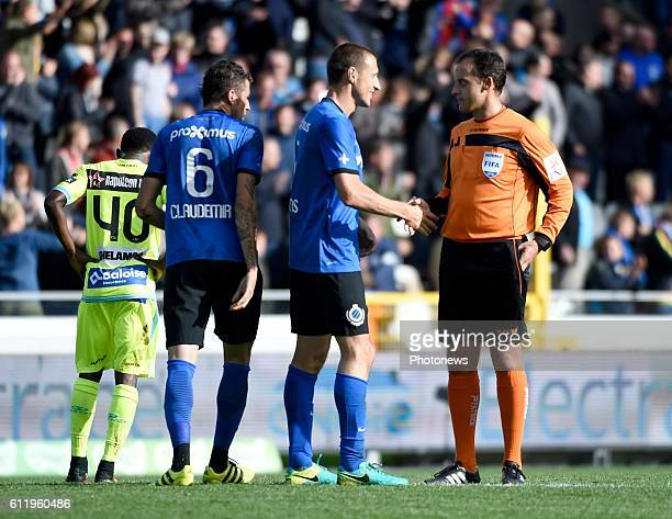 referee Alexandre Boucaut gestures and Timmy Simons midfielder of Club Brugge pictured during Jupiler Pro League match between Club Brugge KV and KAA...