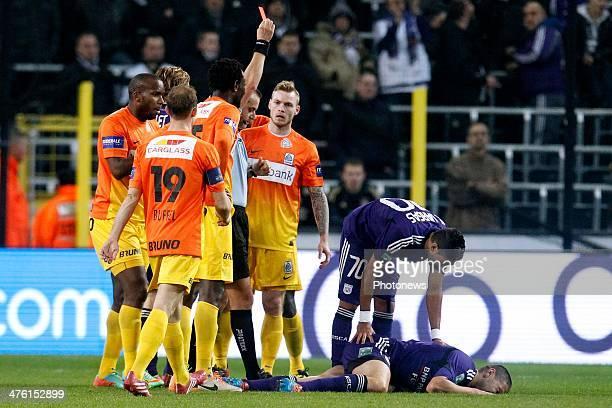 referee Alexandre Boucaut shows the red card at Kara Mbodji of KRC Genk during the Jupiler League match between RSC Anderlecht and Krc Genk on March...