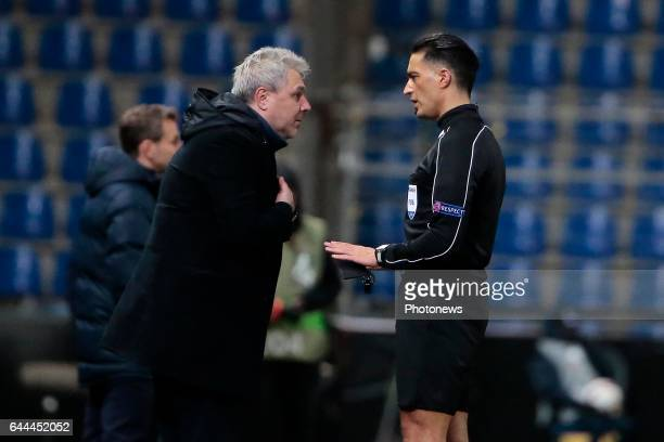 referee Alfredo Trentalange in discussion with Marius Sumudica head coach of Astra Giurgiu during the Europa League second leg round of 32 game...