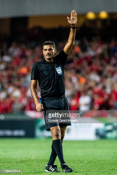 Referee Ali Shaban of Kuwait gestures during the FIFA World Cup Asian Qualifier second round match between Hong Kong and Cambodia on November 19 2019...