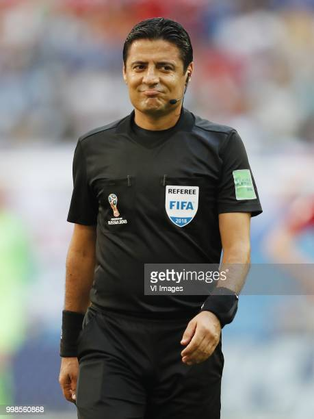referee Alireza Faghani during the 2018 FIFA World Cup Playoff for third place match between Belgium and England at the Saint Petersburg Stadium on...