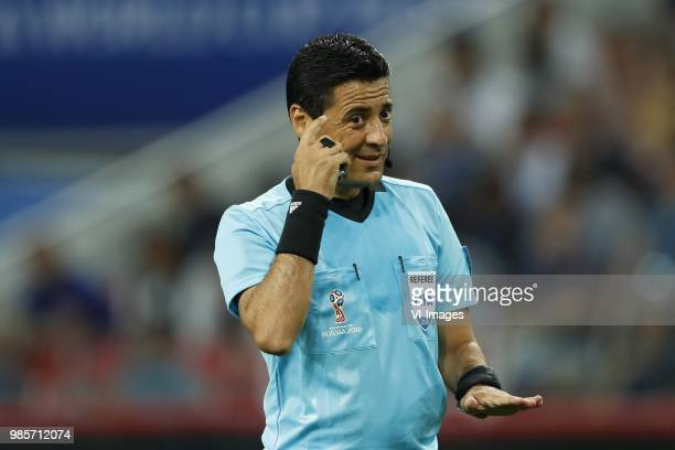 referee Alireza Faghani during the 2018 FIFA World Cup Russia group E match between Serbia and Brazil at the Otkrytiye Arena on June 27 2018 in...