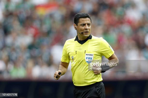 referee Alireza Faghani during the 2018 FIFA World Cup Russia group F match between Germany and Mexico at the Luzhniki Stadium on June 17 2018 in...