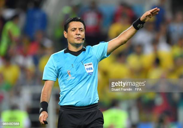 Referee Alireza Faghani gestures during the 2018 FIFA World Cup Russia group E match between Serbia and Brazil at Spartak Stadium on June 27 2018 in...