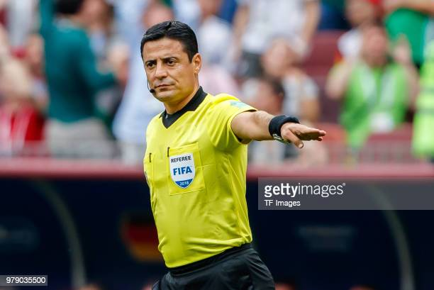 referee Alireza Faghani gestures during the 2018 FIFA World Cup Russia group F match between Germany and Mexico at Luzhniki Stadium on June 17 2018...