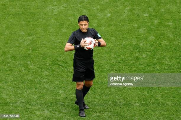 Referee Alireza Faghani is seen before the 2018 FIFA World Cup 3rd place match between Belgium and England at the Saint Petersburg Stadium in Saint...