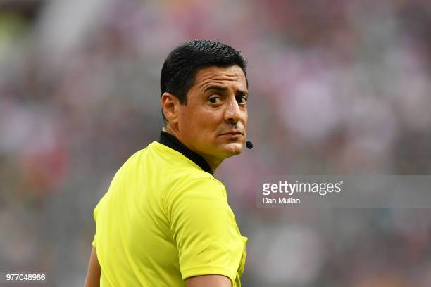 Referee Alireza Faghani looks on during the 2018 FIFA World Cup Russia group F match between Germany and Mexico at Luzhniki Stadium on June 17 2018...