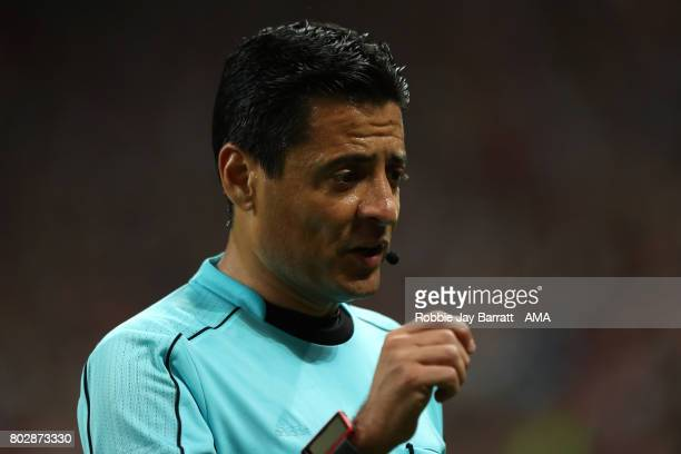 Referee Alireza Faghani looks on during the FIFA Confederations Cup Russia 2017 SemiFinal match between Portugal and Chile at Kazan Arena on June 28...