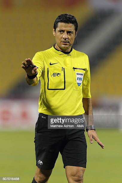 Referee Alireza Faghani of Iran during the AFC U23 Championship quarter final match between South Korea v Jordan at the Suhaim Bin Hamad Stadium on...