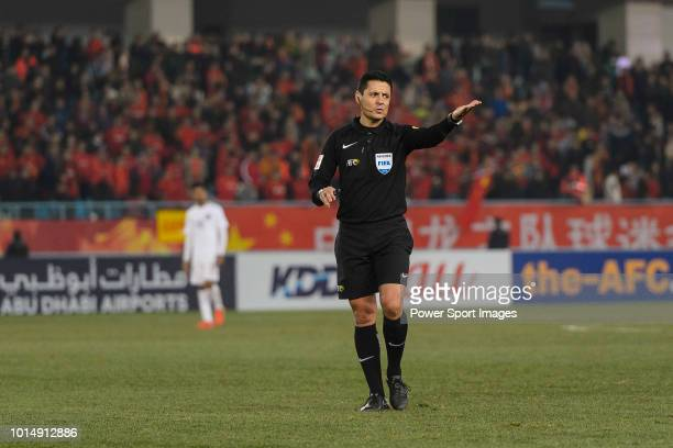 Referee Alireza Faghani of Iran gestures during the AFC U23 Championship China 2018 Group A match between China and Qatar at Changzhou Olympic Sports...