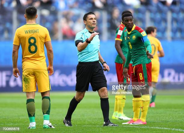 Referee Alireza Faghani of Iran in action during the FIFA Confederations Cup Russia 2017 Group B match between Cameroon and Australia at Saint...