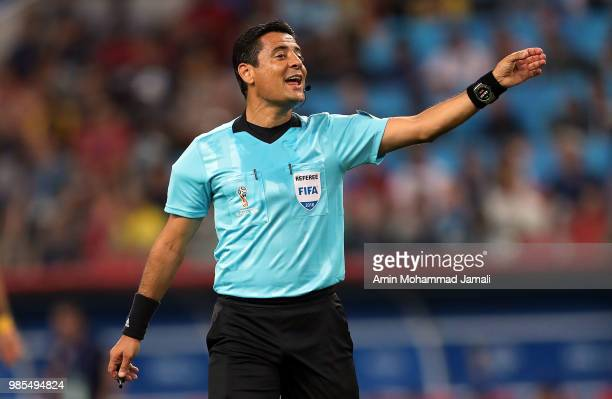 referee Alireza Faghani of Iran look on during the 2018 FIFA World Cup Russia group E match between Serbia and Brazil at Spartak Stadium on June 27...