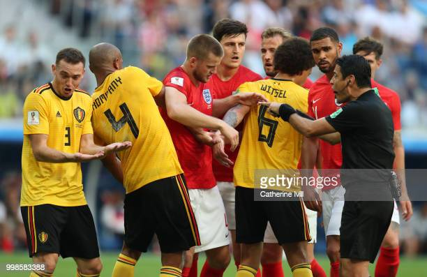 Referee Alireza Faghani shouts the Belgium and England players during the 2018 FIFA World Cup Russia 3rd Place Playoff match between Belgium and...