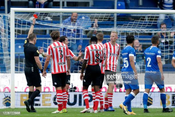 Referee Allard Lindhout gives a red card to Michael Pinto of Sparta Rotterdam during the Dutch Eredivisie match between PEC Zwolle v Sparta at the...