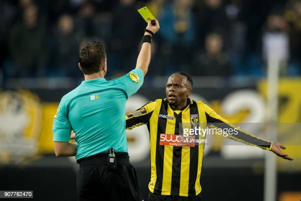 referee Allard Lindhout Thulani Serero of Vitesse during the Dutch Eredivisie match between Vitesse Arnhem and sc Heerenveen at Gelredome on January...
