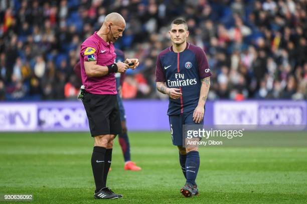 Referee Amaury Delerue and Marco Verratti of PSG during the Ligue 1 match between Paris Saint Germain and Metz at Parc des Princes on March 10 2018...