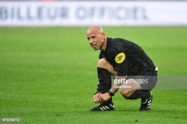 Referee Amaury Delerue during the French Ligue 1 match between Caen and Marseille at Stade Michel D'Ornano on April 30 2017 in Caen France