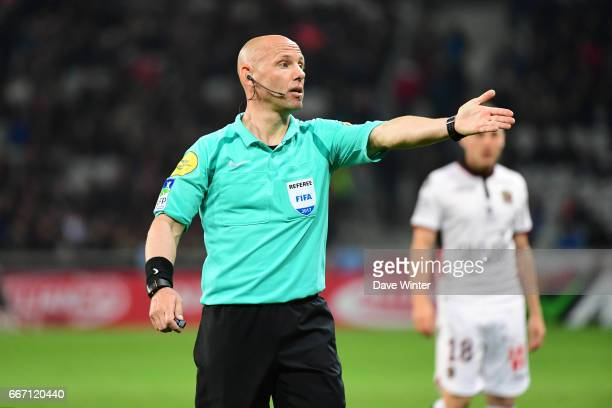 Referee Amaury Delerue during the French Ligue 1 match between Lille OSC and OGC Nice at Stade PierreMauroy on April 7 2017 in Lille France