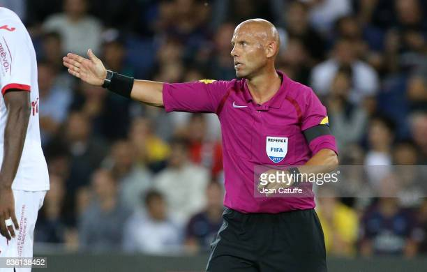Referee Amaury Delerue during the French Ligue 1 match between Paris Saint Germain and Toulouse FC at Parc des Princes on August 20 2017 in Paris...