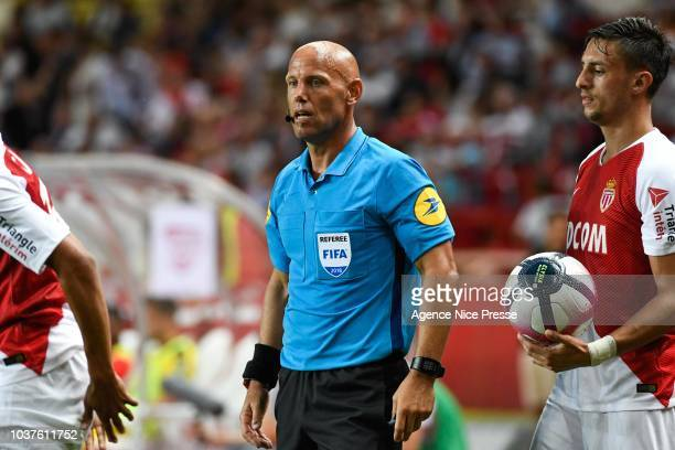 Referee Amaury Delerue during the Ligue 1 match between AS Monaco and Nimes at Stade Louis II on September 21 2018 in Monaco Monaco