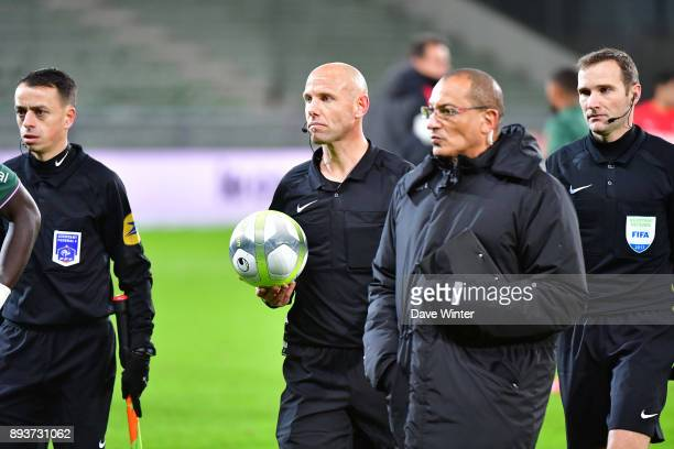 Referee Amaury Delerue leaves the pitch following the Ligue 1 match between AS SaintEtienne and AS Monaco at Stade GeoffroyGuichard on December 15...