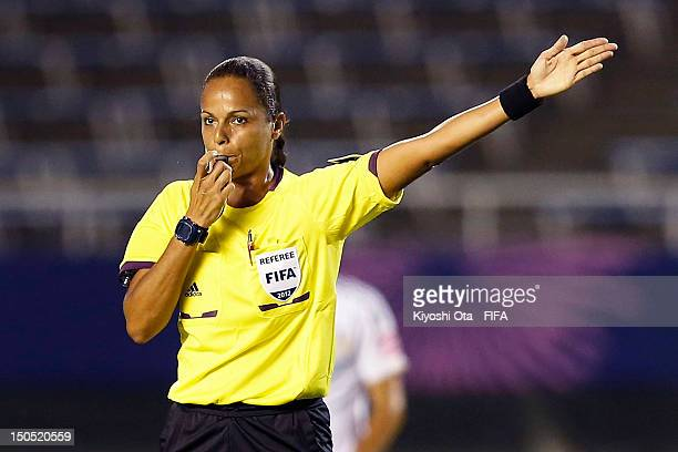 Referee Ana Marques gestures during the FIFA U20 Women's World Cup Japan 2012 Group D match between Germany and China at Hiroshima Big Arch on August...