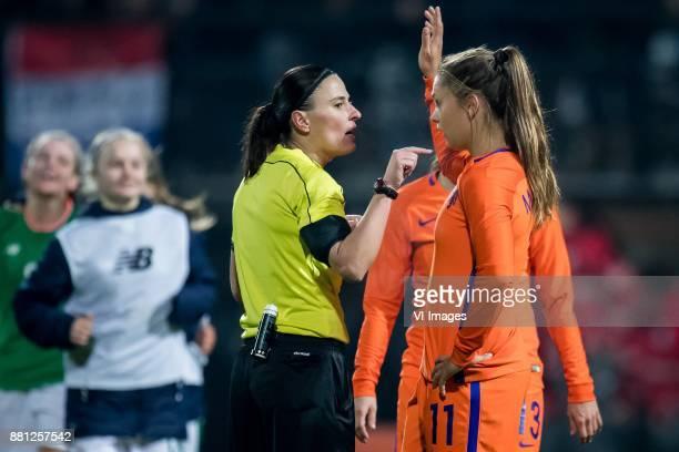 referee Anastasia Pustovoitova Lieke Martens of The Netherlands during the FIFA Women's World Championship Qualifier match between Netherlands Women...