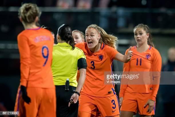 referee Anastasia Pustovoitova Stefanie van der Gragt of the Netherlands Lieke Martens of The Netherlands during the FIFA Women's World Championship...