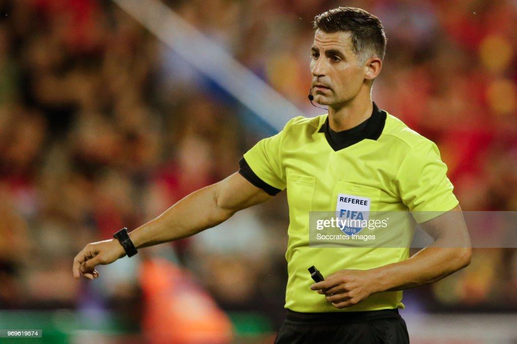 referee Anastasios Sidiropoulos during the International Friendly match between Belgium v Egypt at the Koning Boudewijnstadion on June 6, 2018 in Brussel Belgium