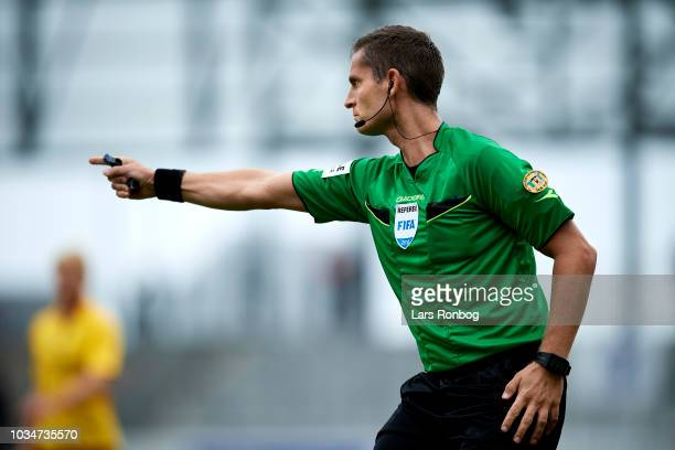 Referee Anders Poulsen in action during the Danish Superliga match between AC Horsens and AGF Aarhus at CASA Arena Horsens on September 16 2018 in...