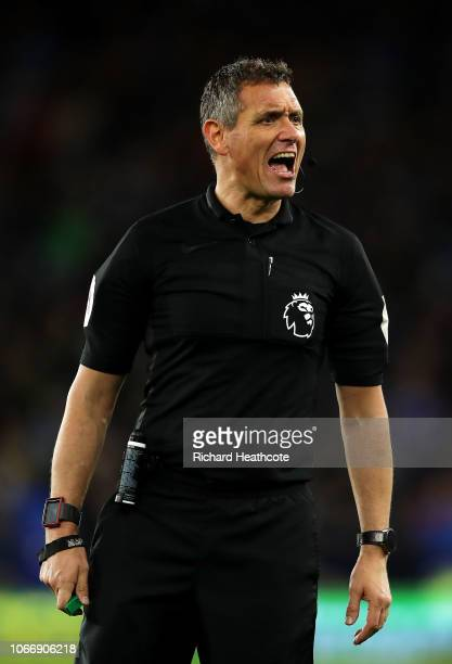 Referee Andre Marriner during the Premier League match between Cardiff City and Wolverhampton Wanderers at Cardiff City Stadium on November 30 2018...